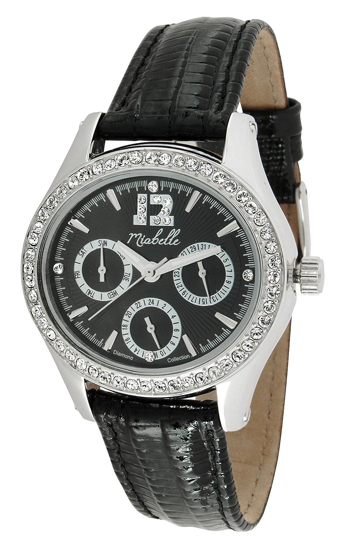 Miabelle Damen-Armbanduhr Analog Quarz Diamanten Leder Schwarz - 12-012W-D-MB