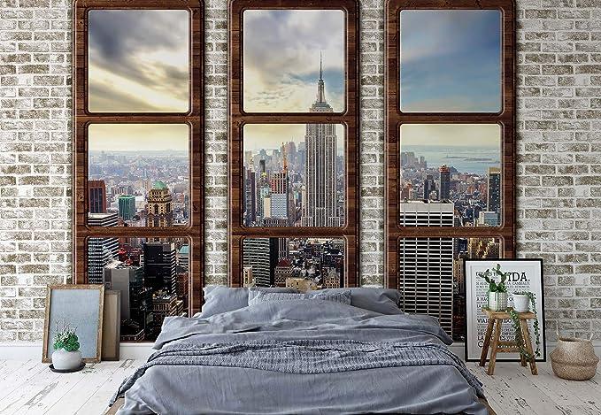 New York Skyline Window View Wallpaper Wall Mural Fleece Easy-Install Paper