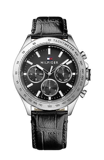 Reloj analógico de cuarzo para hombre Tommy Hilfiger Hudson 1791224, correa de piel negra.: Tommy Hilfiger: Amazon.es: Relojes