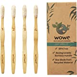 Natural Bamboo Toothbrush Individually Numbered - Eco Friendly - BPA Free Bristles - 4 Pack - WowE LifeStyle Products
