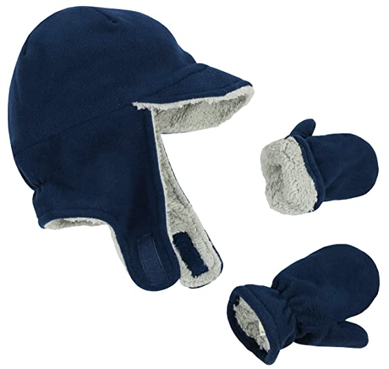 a452f9590f3 Amazon.com  N Ice Caps Boy Sherpa Lined Fleece Brim Flap Hat and Mitten Set  (4-6 Years)  Clothing
