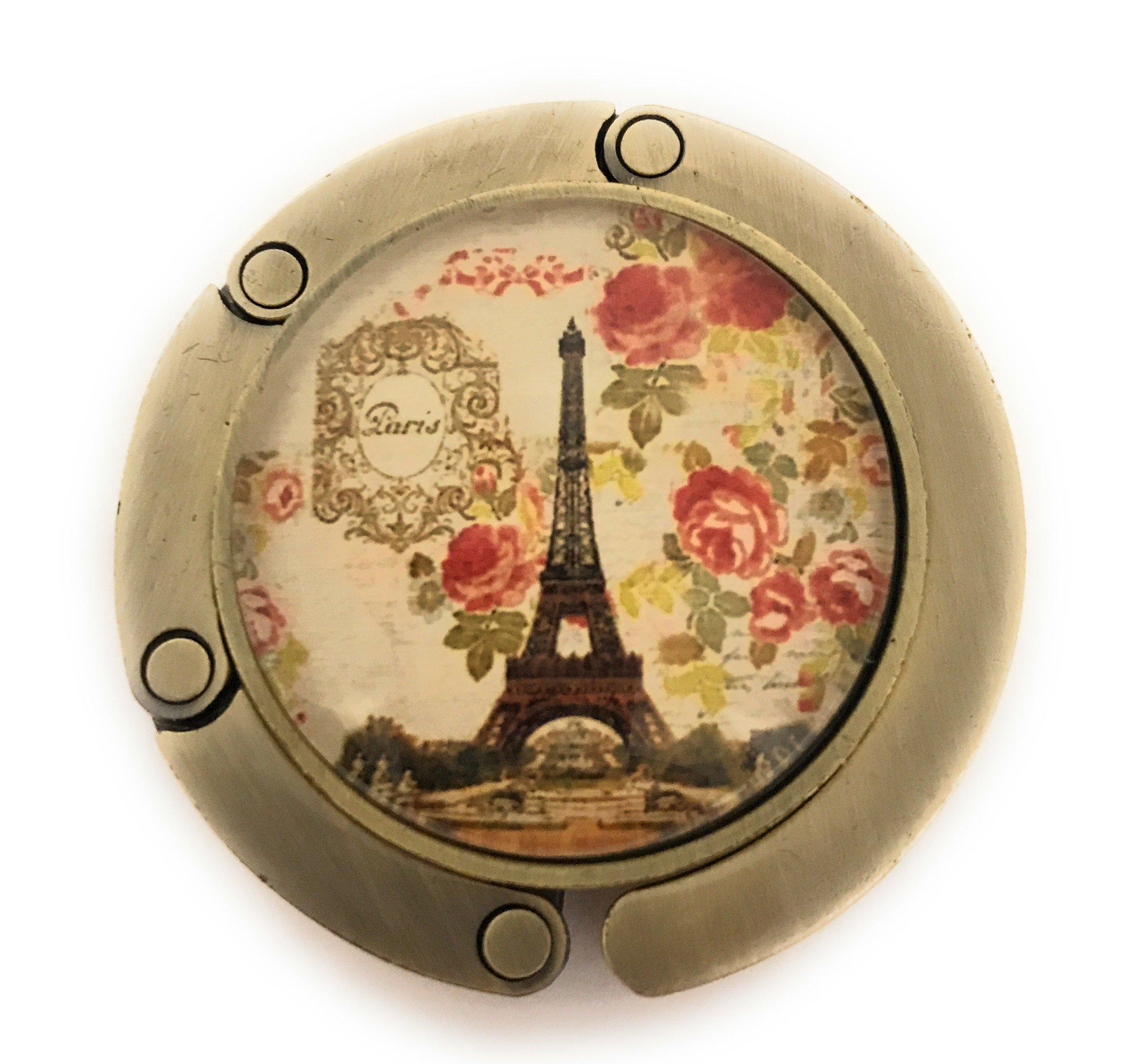 Value Arts Eiffel Tower Paris Folding Purse Hanger, Brass and Glass