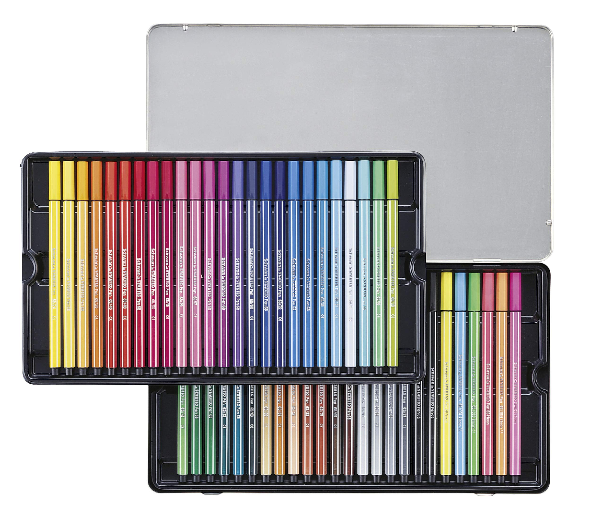 Stabilo Pen 68 Drawing Felt Tip Pens in Metal Box x 50 Assorted Colours by Stabilo (Image #2)
