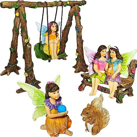 Jardín de hadas mejores amigos día miniatura Swing juego de 6 pcs, figuras pintadas a mano y accesorios, kit para al aire libre o casa Decor, Por Estado de ánimo Lab: Amazon.es: