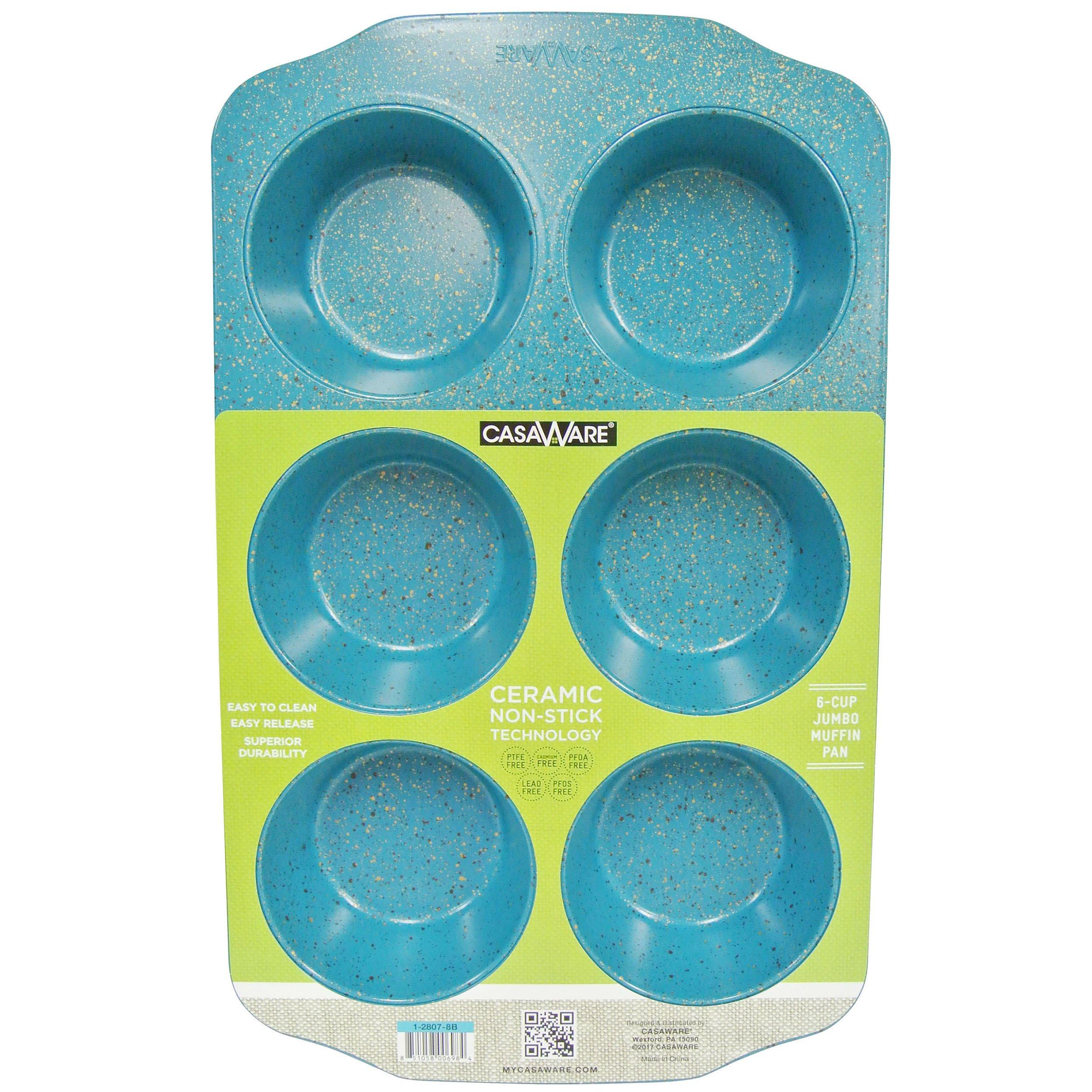 CasaWare Jumbo Muffin Pan 6 Cup Ceramic Coated Non-Stick (Blue Granite)