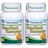 Planet Ayurveda Gandhak Rasayan Vati - Herbal Tablets, 100% Natural - 2 Bottles (Each Bottle contains 120 tablets)