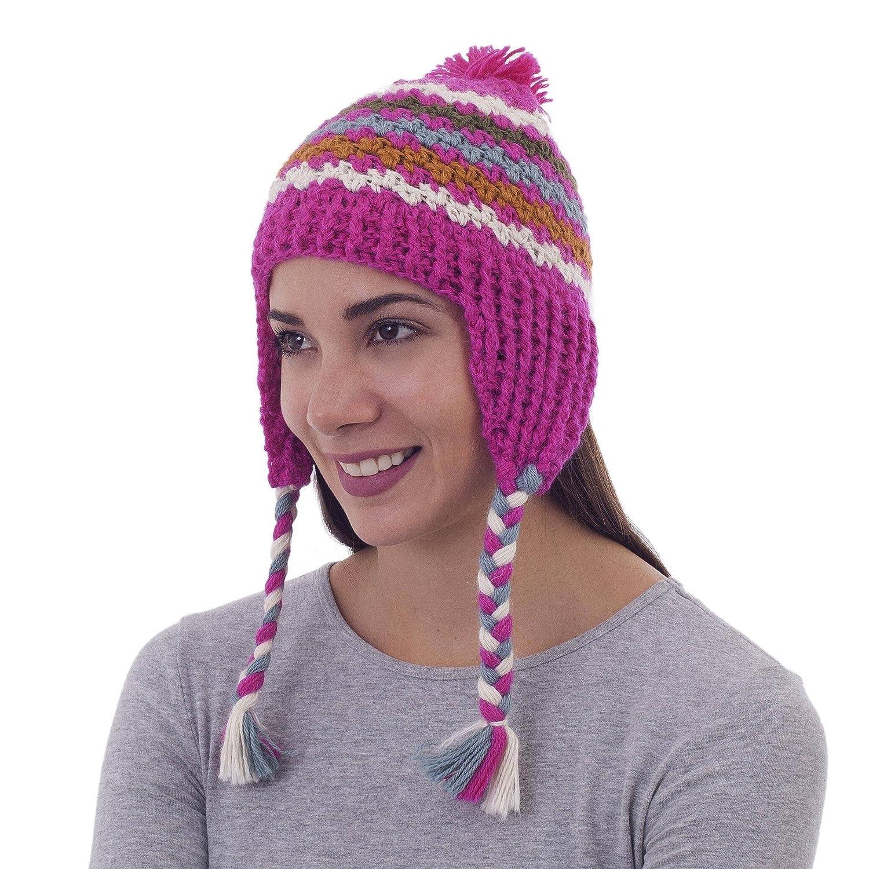 46532812e Amazon.com: NOVICA Pink 100% Alpaca Wool Patterned Chullo Hat, Rose ...