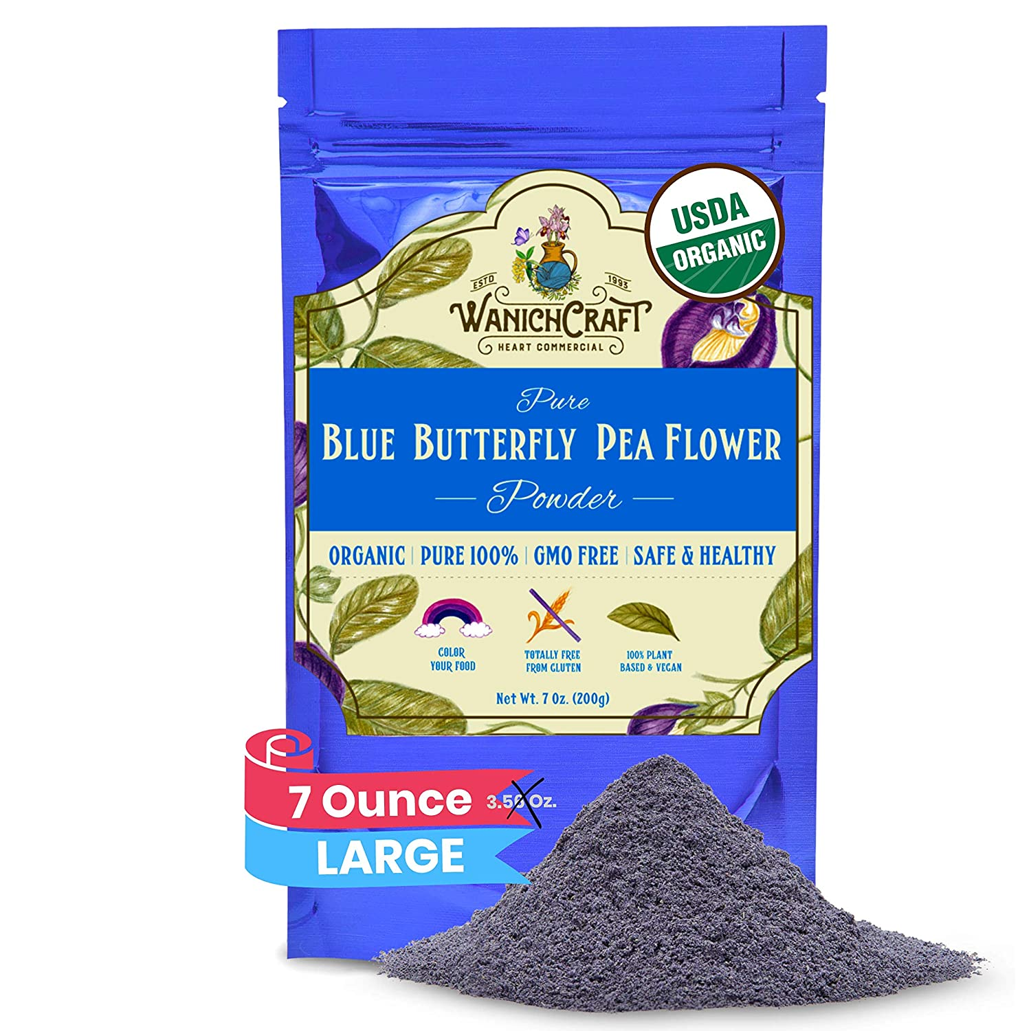 Butterfly Pea Flower Powder Blue Matcha Tea Natural Food Coloring | 100% USDA Organic | GMO Free | Gluten Free | No Artificial Dyes | Plant-Based Colors | 7 Oz. (Powder 200g Bags)