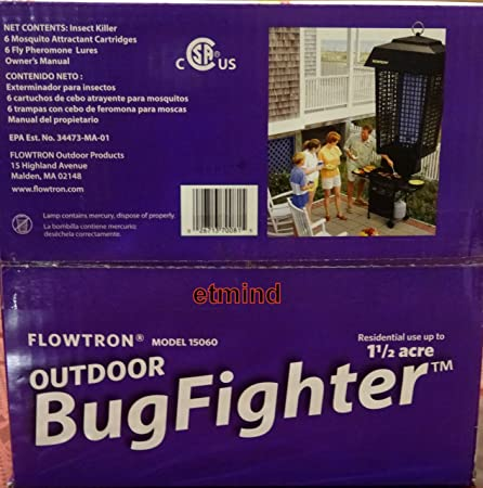 Amazon Flowtron Outdoor Bug Fighter Zapper 1 1 2 acre UV Black