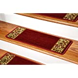 Dean Carpet Stair Treads - Talas Floral Red (Set of 13)