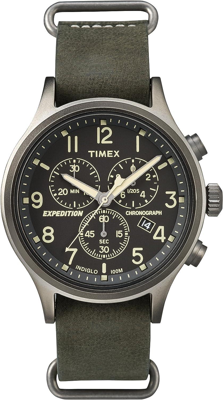 Timex Men's Expedition TW4B04100 Silver Leather Quartz Dress Watch