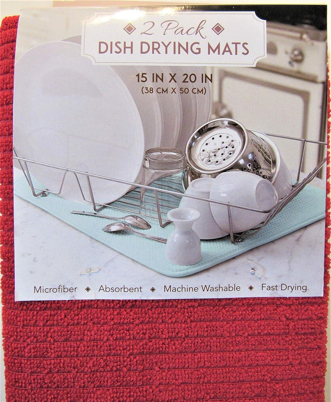"Microfiber Reversible Dish Drying Mat 15/"" x 20/"" BUTTERFLIES ON GREY by SUNBEAM"