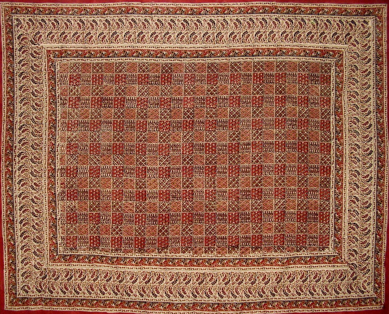 Kalamkari Block Print Tapestry Cotton Bedspread 108 x 88 Full-Queen Red//Black
