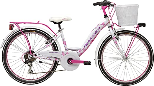 Bicicleta Cicli Adriatica CTB para niña, estructura de acero, rueda de 24, cambio Shimano de 6 velocidades, talla 34, 2 colores disponibles, Niños, Bianco con cesto, H 35: Amazon.es: Deportes y aire libre