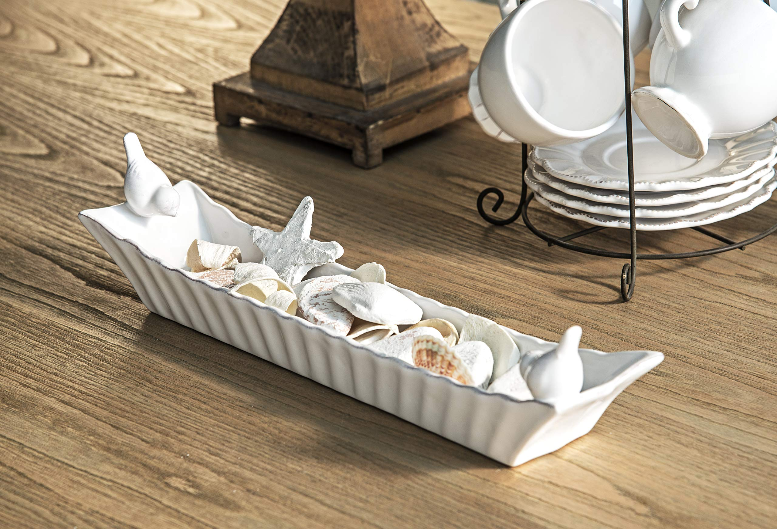 Creative Co-Op Long White Ceramic Cracker Dish with Two Birds by Creative Co-op (Image #6)