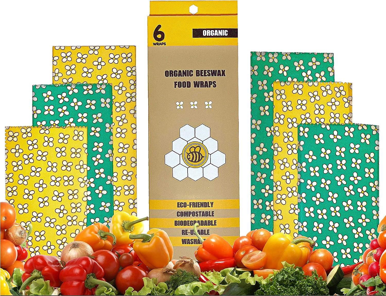 Square Design | Organic Beeswax Food Wraps | Reusable Eco Friendly Sustainable Premium 6-Pack Food Wraps | Plastic Free | Saran Wrap Alternative | Great Gift Idea