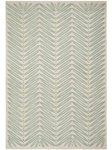 Safavieh Martha Stewart Collection MSR3612C Premium Wool and Viscose Chevron Leaves Blue Fir Area Rug 8 x 10