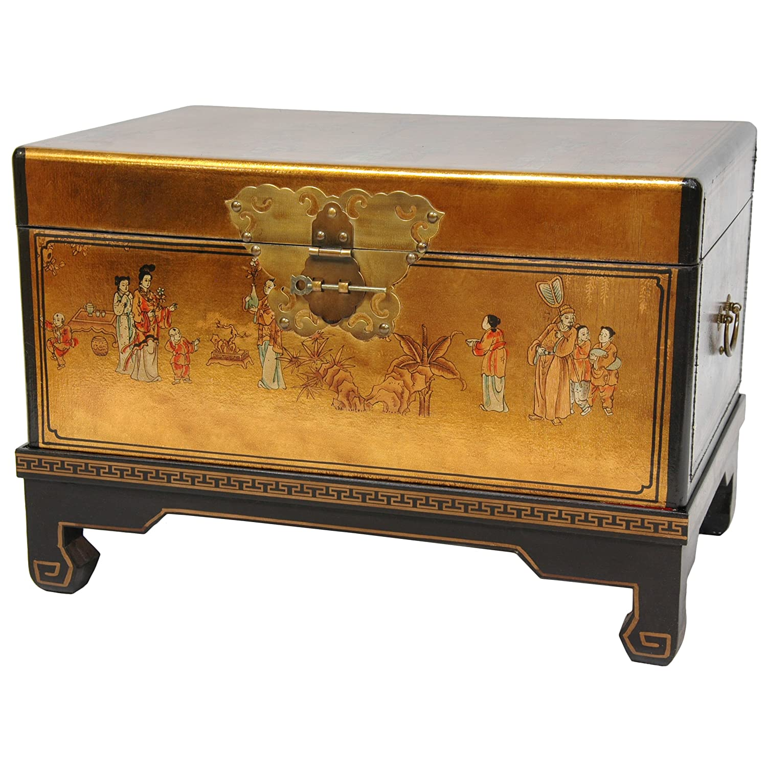 Design Lacquered Furniture amazon com oriental furniture gold leaf small trunk kitchen dining
