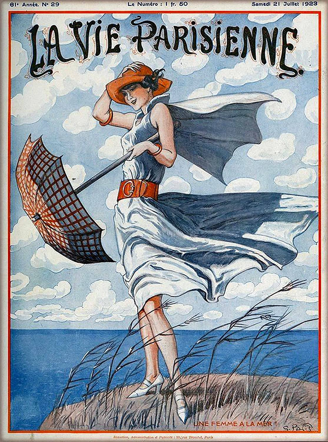 Amazon Com 1923 La Vie Parisienne Une Femme A La Mer Girl With Umbrella On Windy Day French Nouveau From A Magazine France Travel Advertisement Picture Art Poster Print Poster Measures 10 X