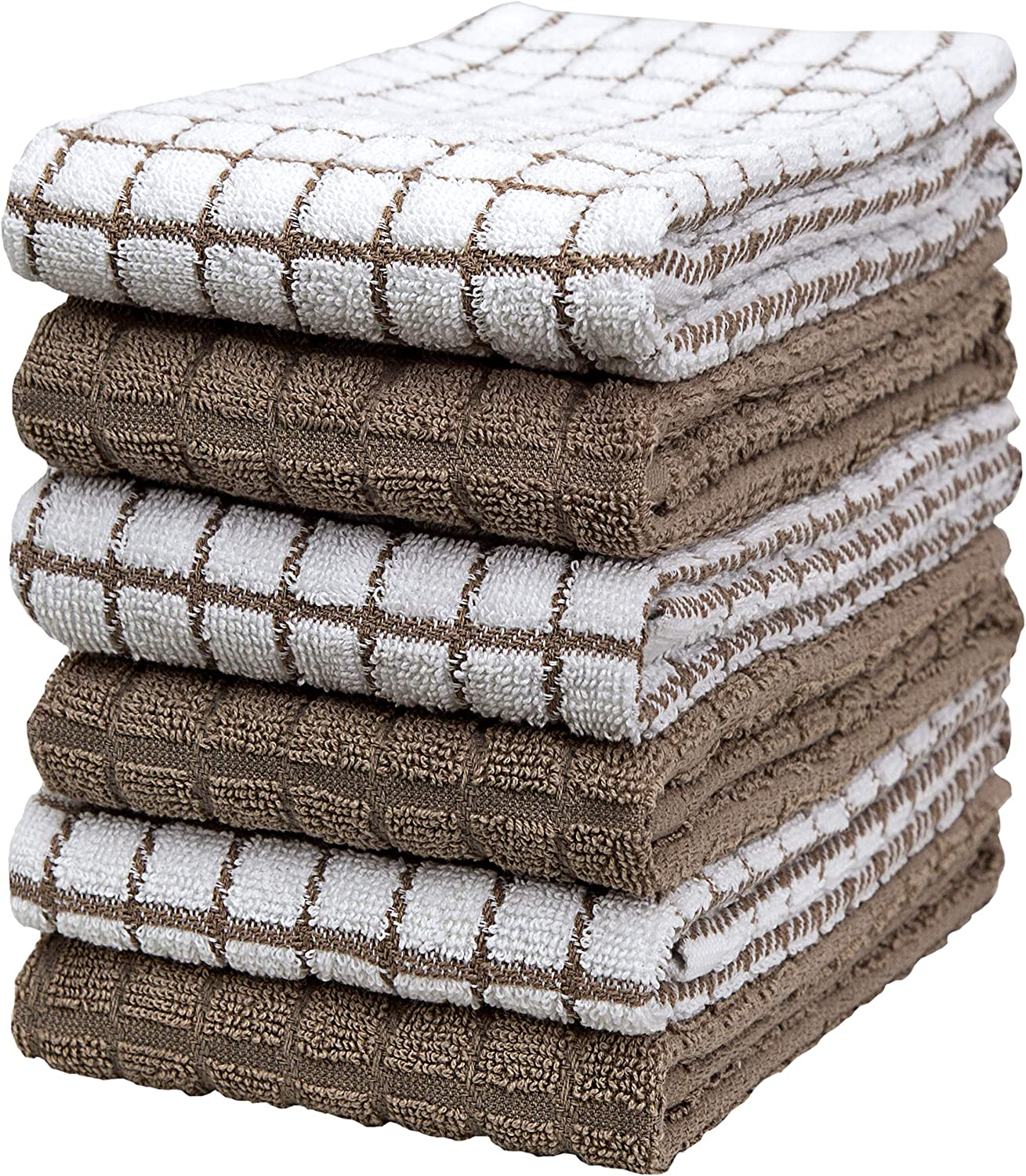 """Premium Kitchen Towels (16""""x 28"""", 6 Pack) – Large Cotton Kitchen Hand Towels – Check Design – 380 GSM Highly Absorbent Tea Towels Set with Hanging Loop – Tan"""