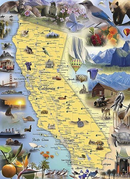 Amazon.com: Hennessy Puzzles California Map Jigsaw Puzzle   1000