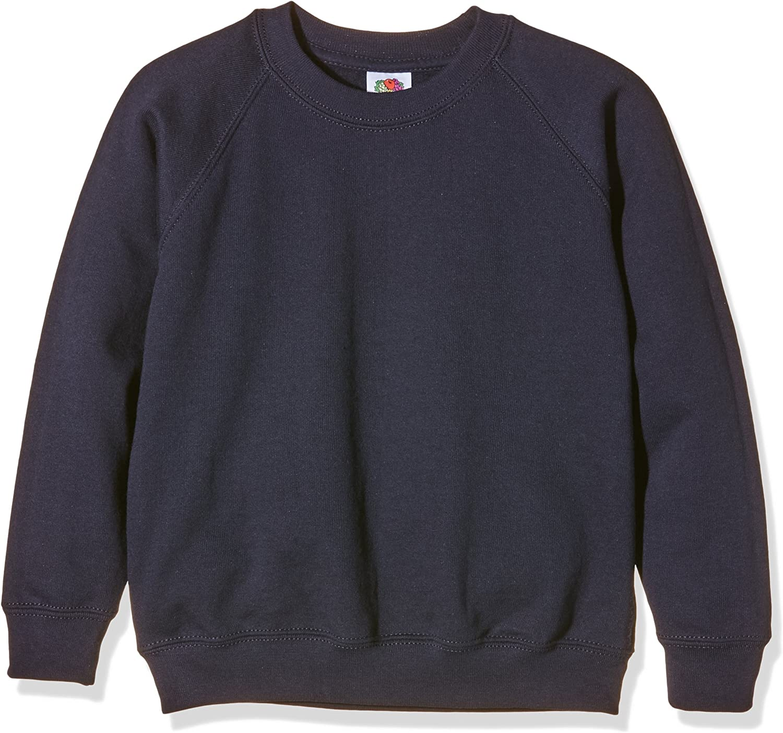 14-15 Deep Navy Fruit of the Loom Childrens Unisex Raglan Sleeve Sweatshirt