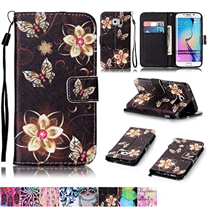 amazon com galaxy s6 edge case,firefish [kickstand feature][dropgalaxy s6 edge case,firefish [kickstand] folio style wallet case shock proof of pu leather with magnetic closure wrist strap for samsung galaxy s6 edge