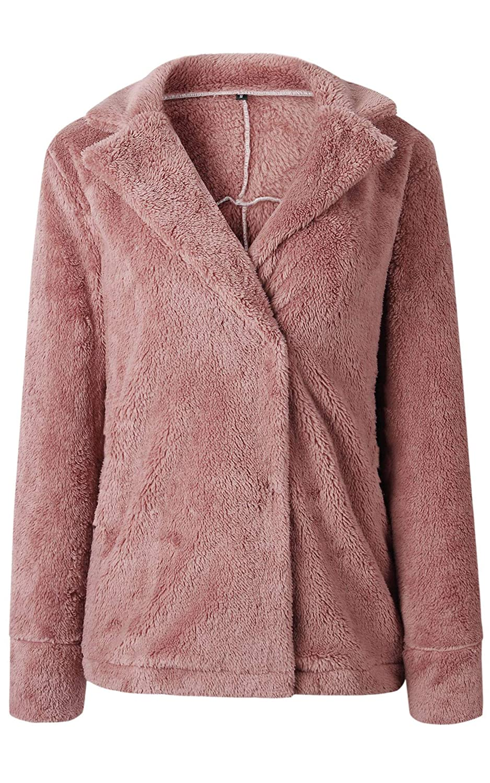Angashion Plüschmantel Damen lose Sweatshirt mit Kapuze Mantel Langärmelige Einfarbige Strickjacke Jacke mit Taschen Warmen Winter