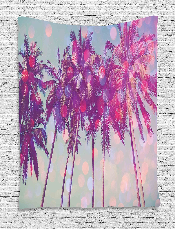 asddcdfdd Nature Tapestry, Palm Trees Hawaiian Tropic Seashore Beach Californian Miami Sunbeams Image, Wall Hanging for Bedroom Living Room Dorm, 60 W x 80 L Inches, Fuchsia Purple Green