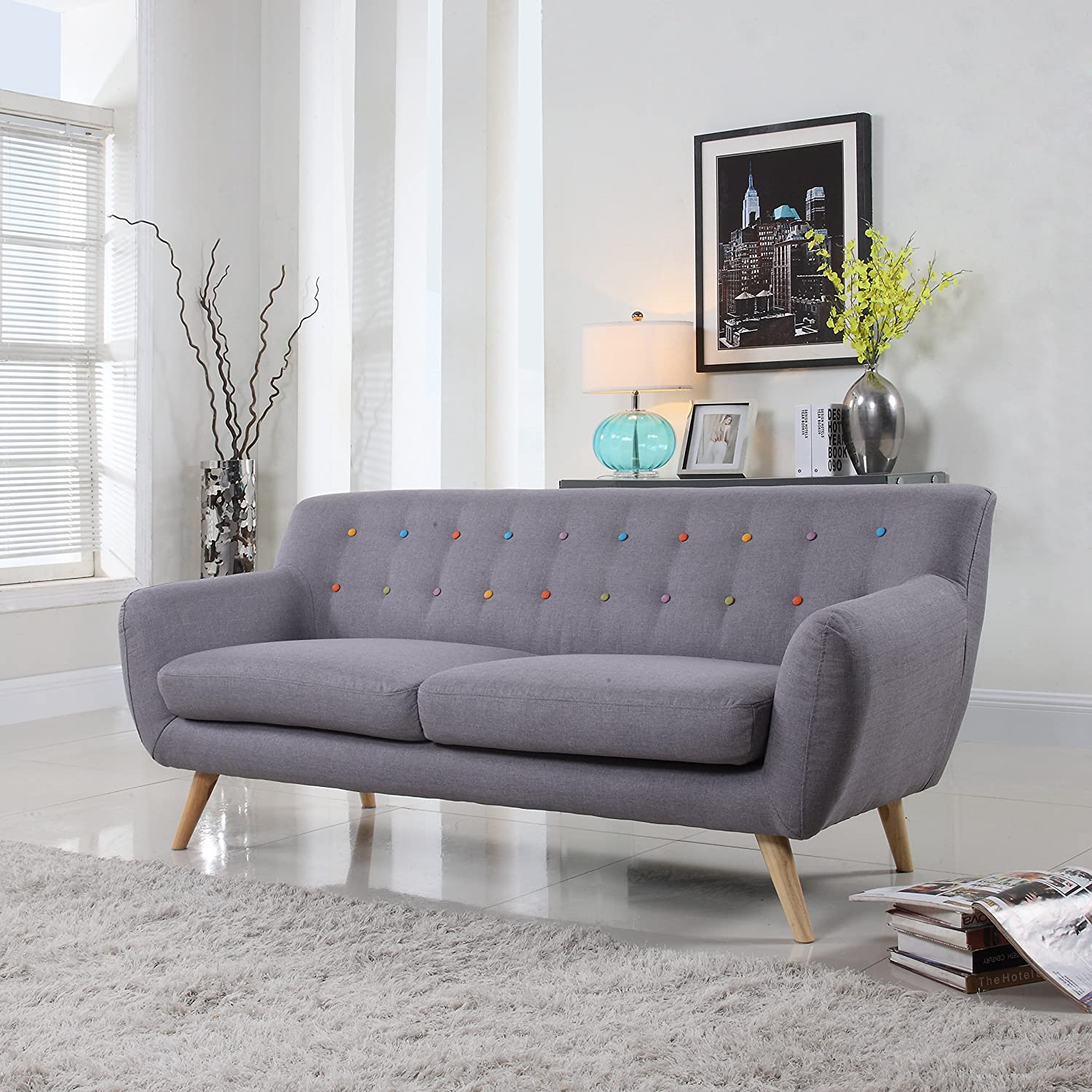 Amazon Mid Century modern tufted linen fabric loveseat in