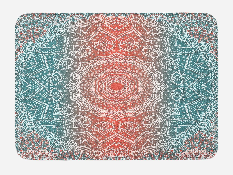 Ambesonne Coral and Teal Bath Mat, Modern Tribal Mandala Tibetan Healing Motif with Floral Geometric Ombre Art, Plush Bathroom Decor Mat with Non Slip Backing, 29.5