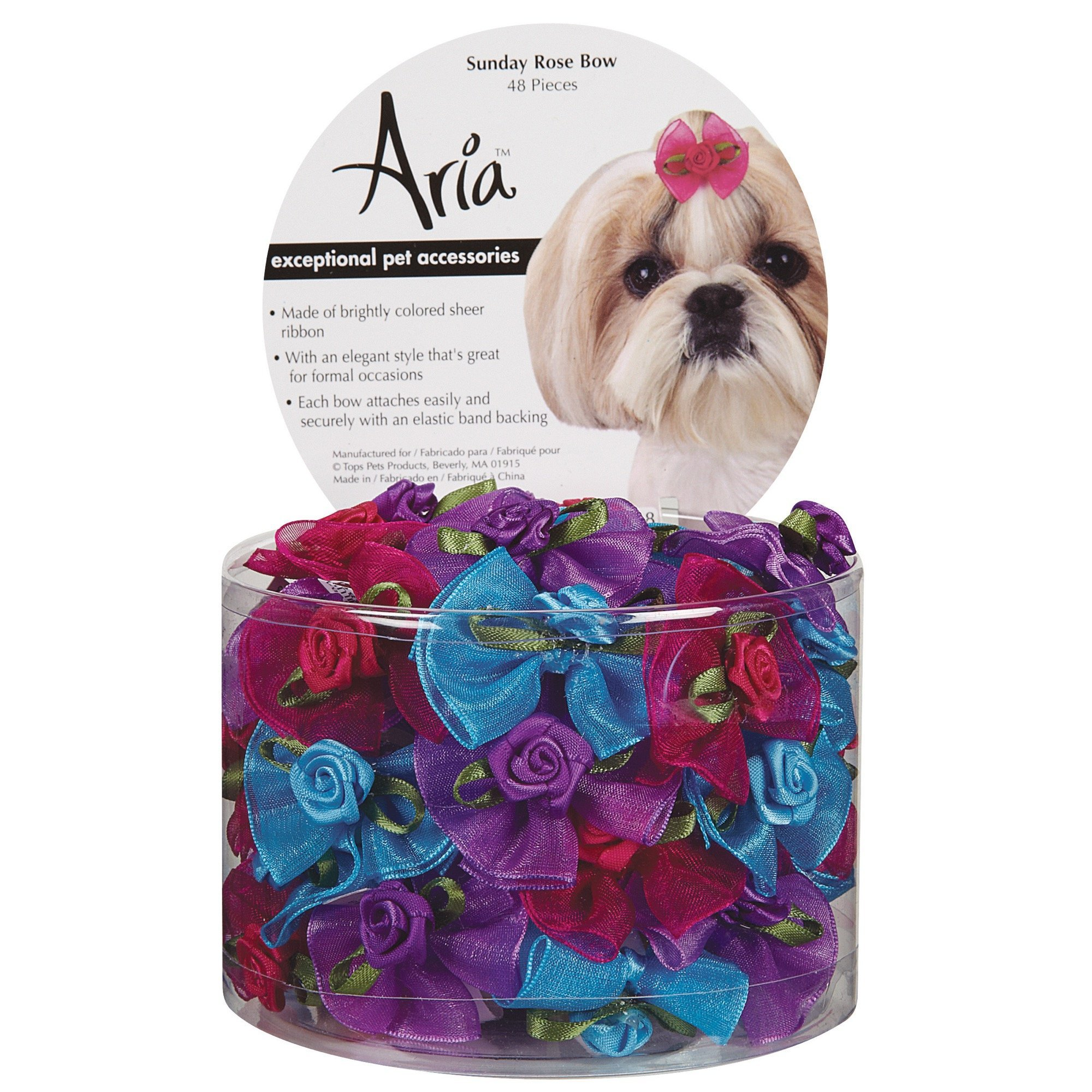Aria Sunday Rose Bows for Dogs, 48-Piece Canisters by Aria