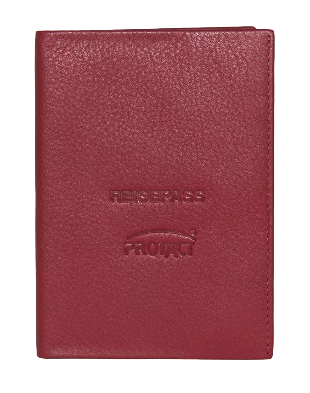 PROTÄCT Reisepass-Hülle RFID / NFC sicher Leder (Rot) 153-975-GRP