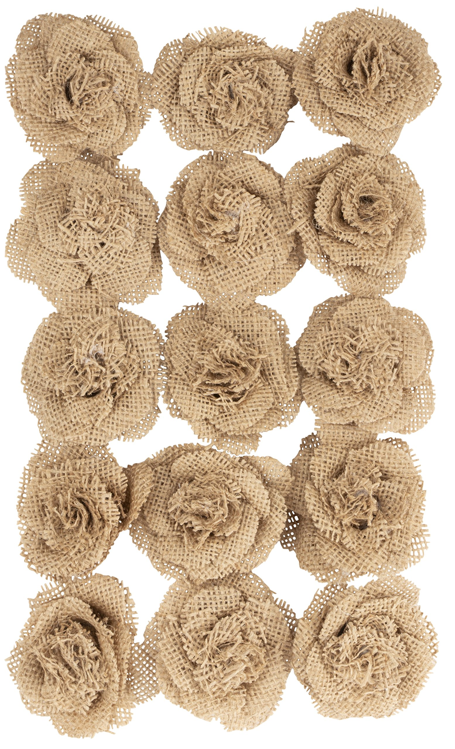 Burlap-Flowers-15-Pack-Craft-Rose-Flower-Embellishment-for-Home-Wedding-Baby-Shower-Decoration-Natural-Brown-26-inches-in-Diameter