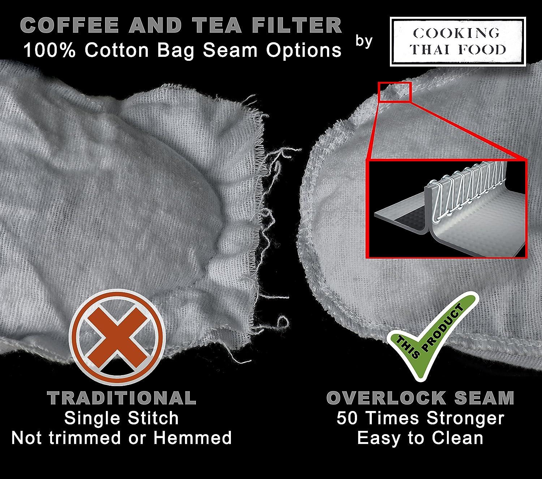 Traditional Thai Tea Filter 5 inch diameter 100/% Cotton Strainer Made in Thailand