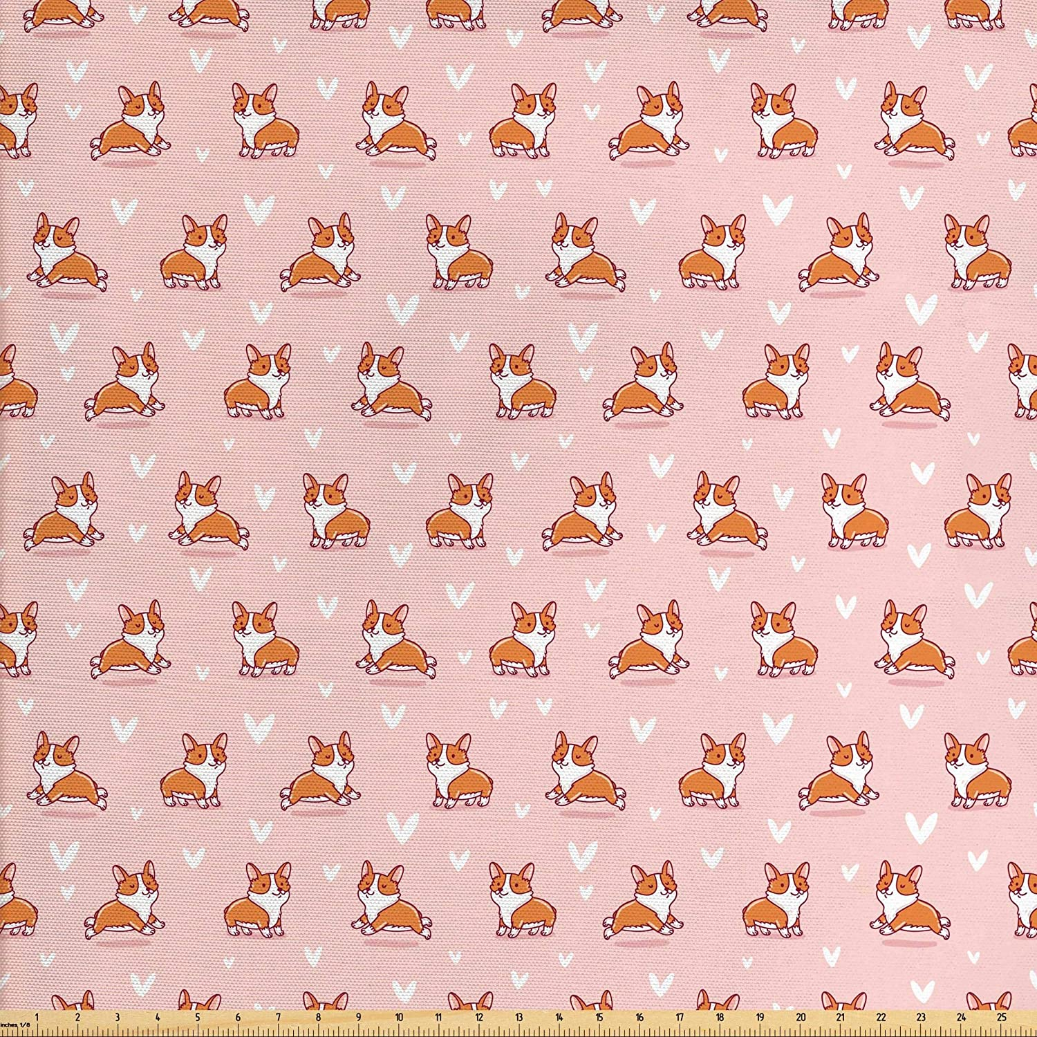 Ambesonne Dog Lover Fabric by The Yard, Cute Little Corgi Jumping Running and Standing Cartoon Hearts Background, Decorative Fabric for Upholstery and Home Accents, 3 Yards, Coral Orange White