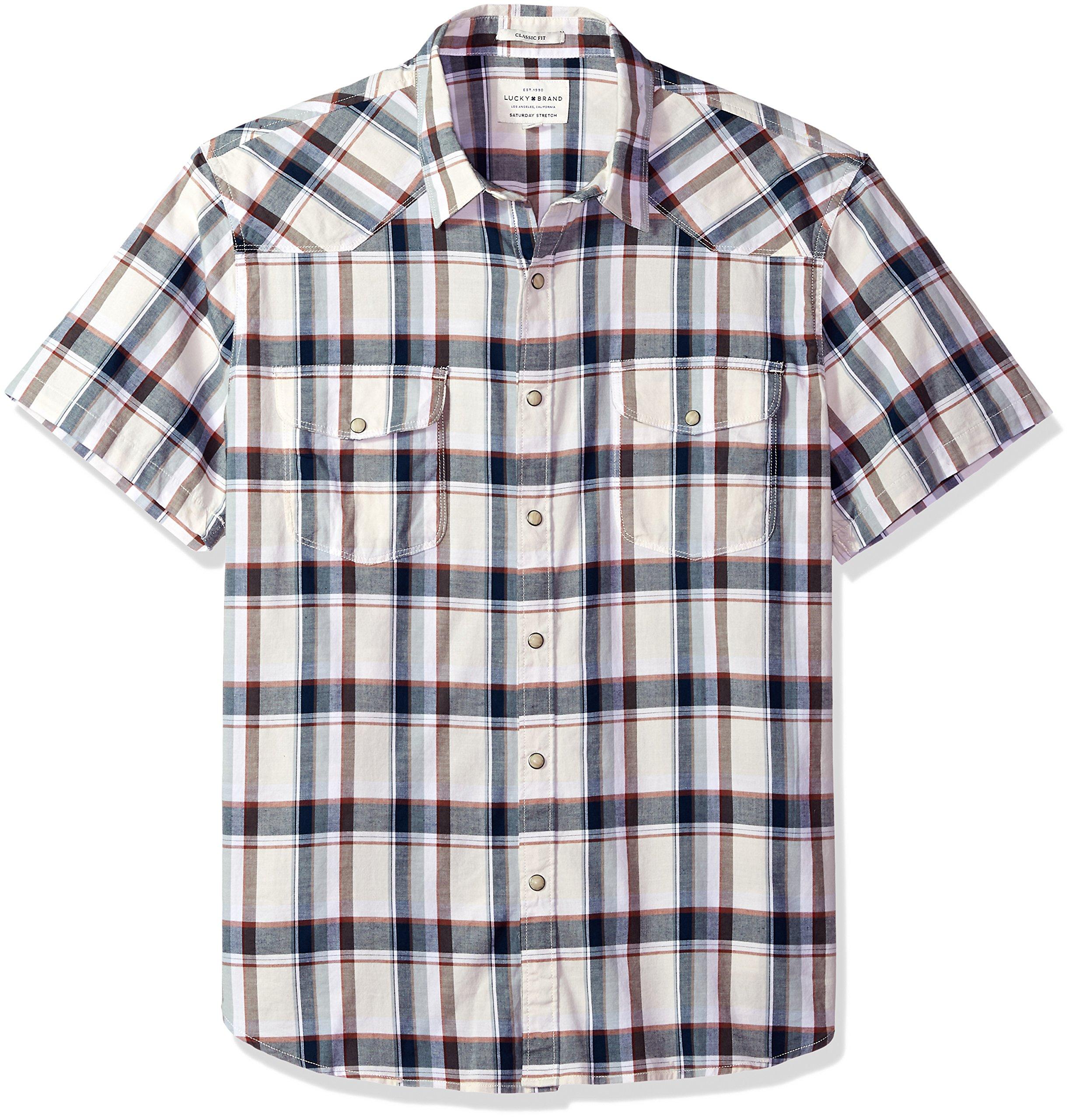 Lucky Brand Men's Casual Short Sleeve Plaid Western Button Down Shirt, Natural Plaid, L