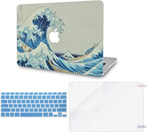 "LuvCase 3 in 1 Laptop Case for MacBook Pro 13"" (2020/2019/2018/2017/2016) w/wo Touch Bar A2159/A1989/A1706/A1708 Hard Shell Cover, Keyboard Cover & Screen Protector (Japanese Wave)"