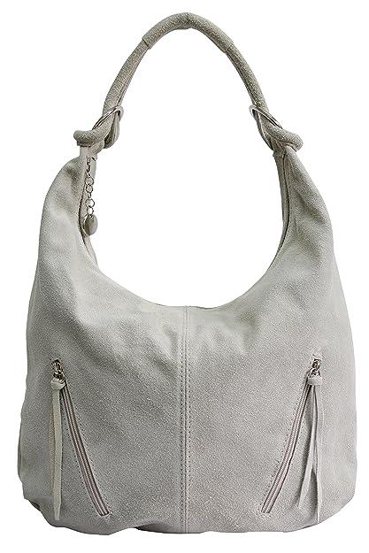 CASPAR TL767 Sac à main vintage pour femme - Grand sac de shopping - Sac à porter à l'épaule en véritable daim, Couleur:argenté métallique;Taille:One Size