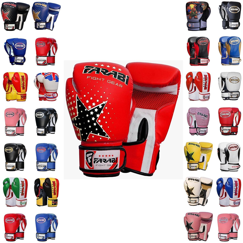 Farabi Boxing Gloves 6-oz Kids Junior Muay Thai Kick Boxing Training