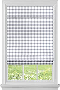 "Achim Home Furnishings, Grey Cordless Buffalo Check Roman Window Shade, 29"" x 64"""