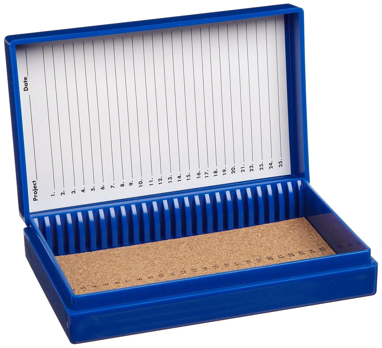 141 mm Length x 88 mm Width x 35 mm Height Cork Lined Blue 25 Place Heathrow Scientific HD15989A Microscope Slide Box