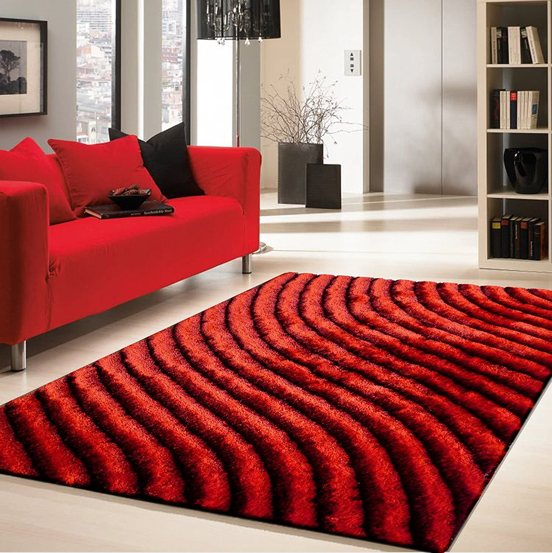 Amazon.com: RUGADDICTION Alfombra de nueva generation Color Rojo hecha a mano estilo moderno tridimensional suave y lujosa , gruesa pila de tamaño 5 x 7 ...