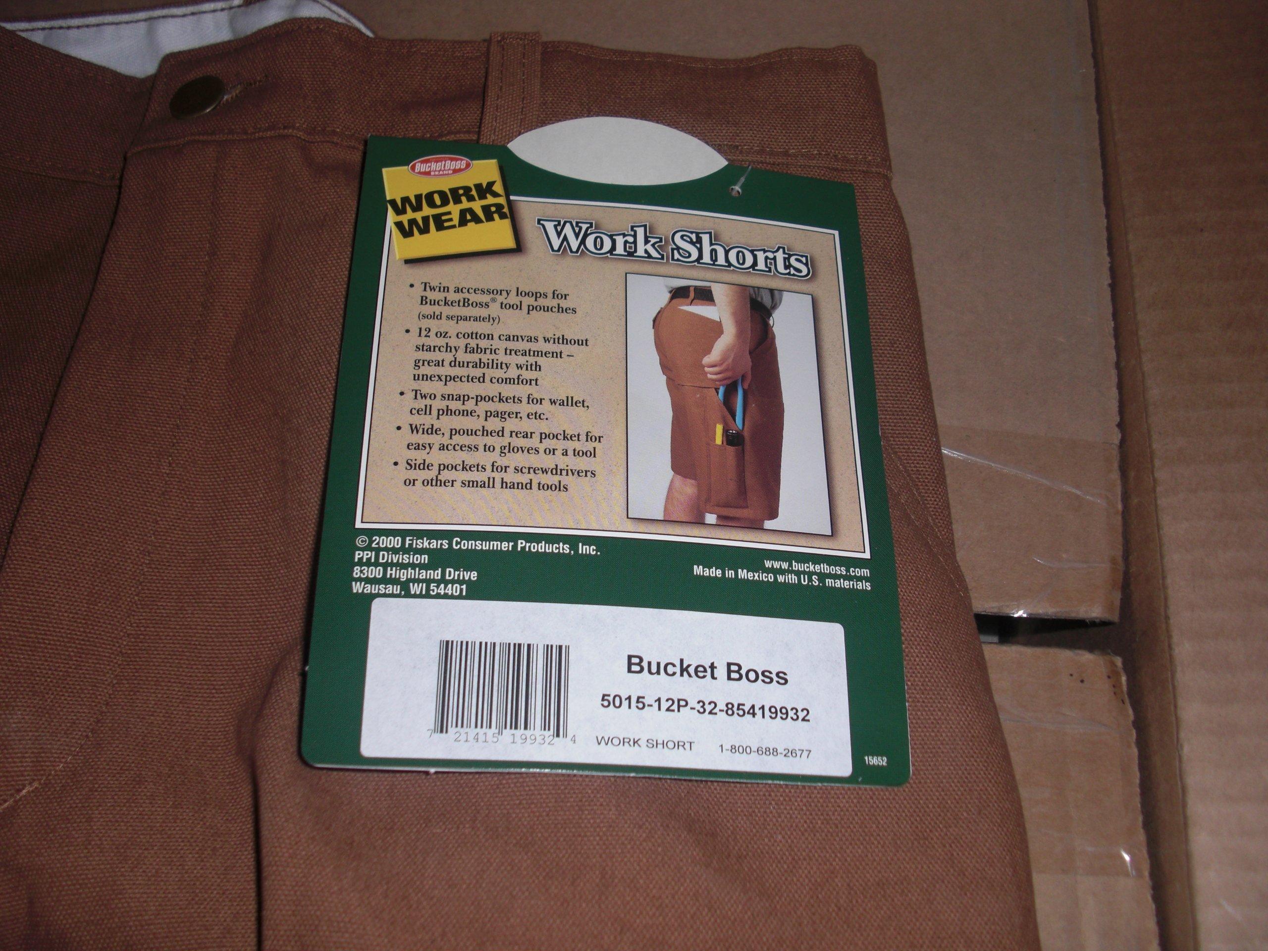 Bucket Boss Work Shorts 32 Waist 5015 Brown