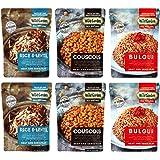 Wild Garden All Natural Heat & Serve 6 Pack Variety Pack, 8.8 Oz Each (2- Bulgur Pilaf, 2- Couscous Pilaf, 2- Rice & Lentil Pilaf)