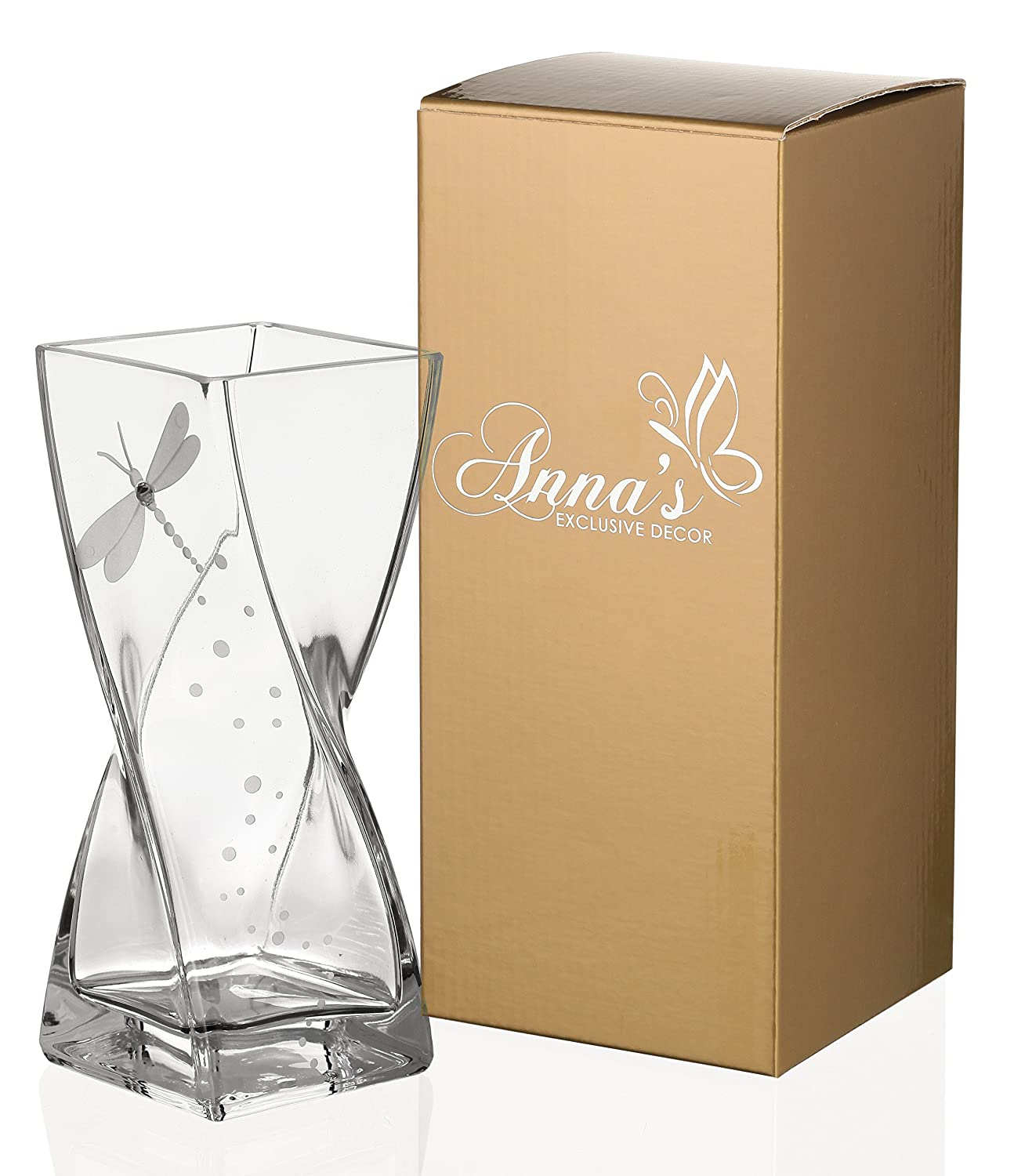 Dragonfly Vase - Handmade Glass Vase Decorated with Swarovski Crystal and Sandblasted Dragonfly – Presented in a Golden Gift Box – Diamond Collection - Clear, 7.9 inch (20 cm)