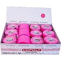 12 rollos de vendas elásticas cohesivas, varios tamaños y colores (rosa, 7,5)