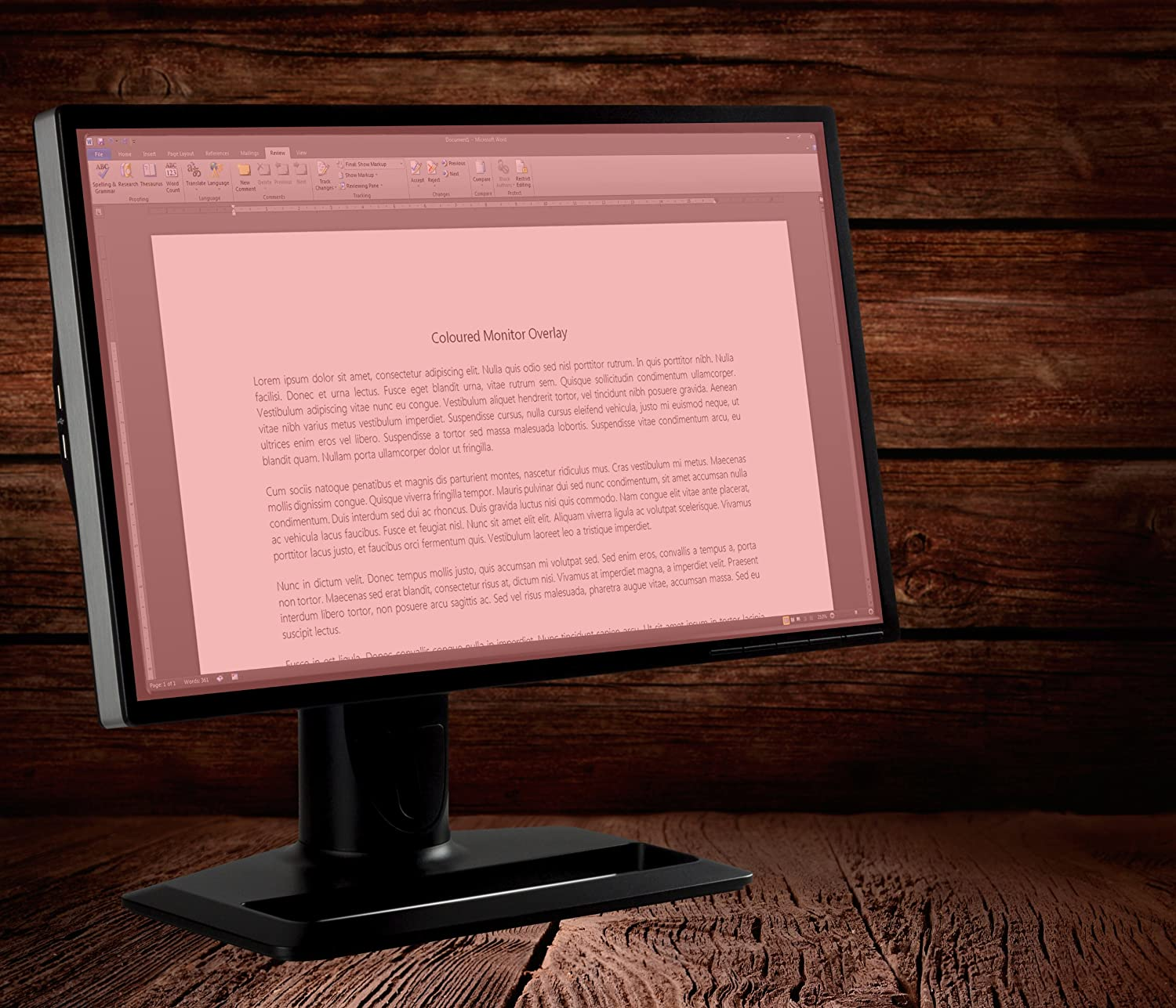 19 inch Coloured Monitor Overlay Screen Tint Dyslexia Pink
