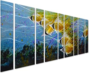 """Pure Art Blue Tropical School of Fish Metal Wall Art, Giant Art in Modern Ocean Design, 9-Panels of 86""""x 32"""", 3D Wall Art for Modern and Contemporary Decor, Metal Wall Decor Works Everywhere"""