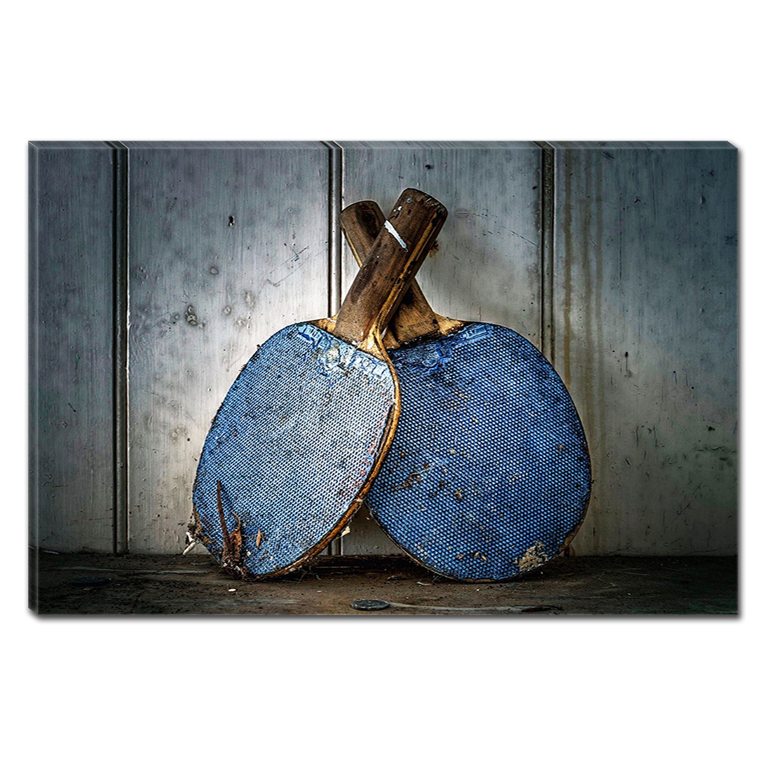 Startonight Canvas Wall Art Blue Ping Pong Paddle, Dual View Surprise Artwork Modern Framed Ready to Hang Wall Art 100% Original Art Painting 31.5 x 47.2 inch